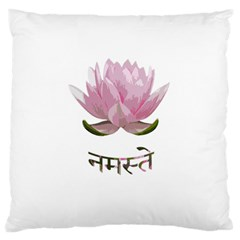 Namaste   Lotus Large Cushion Case (one Side) by Valentinaart