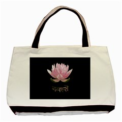 Namaste   Lotus Basic Tote Bag (two Sides) by Valentinaart