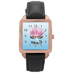 Namaste   Lotus Rose Gold Leather Watch  by Valentinaart