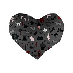 Rebus Standard 16  Premium Flano Heart Shape Cushions by Valentinaart