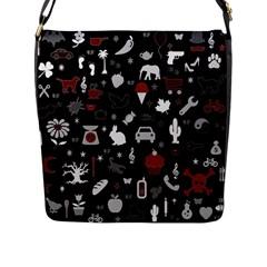 Rebus Flap Messenger Bag (l)  by Valentinaart