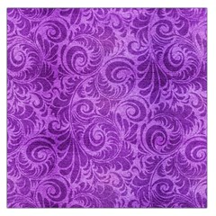 Purple Romantic Flower Pattern Denim Large Satin Scarf (square) by Ivana