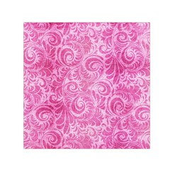 Pink Romantic Flower Pattern Denim Small Satin Scarf (square) by Ivana