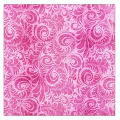 Pink Romantic Flower Pattern Denim Large Satin Scarf (square) by Ivana