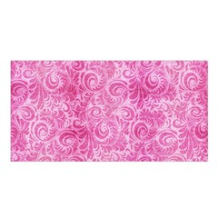 Pink Romantic Flower Pattern Denim Satin Shawl by Ivana
