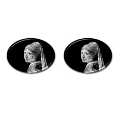 The Girl With The Pearl Earring Cufflinks (oval) by Valentinaart