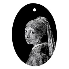 The Girl With The Pearl Earring Oval Ornament (two Sides)