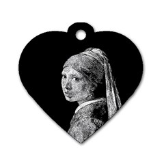 The Girl With The Pearl Earring Dog Tag Heart (one Side) by Valentinaart