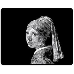 The Girl With The Pearl Earring Fleece Blanket (medium)  by Valentinaart