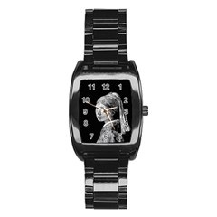 The Girl With The Pearl Earring Stainless Steel Barrel Watch by Valentinaart