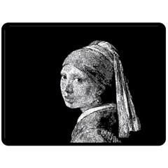 The Girl With The Pearl Earring Double Sided Fleece Blanket (large)  by Valentinaart