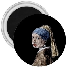 The Girl With The Pearl Earring 3  Magnets by Valentinaart