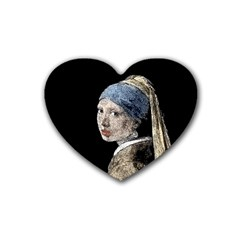 The Girl With The Pearl Earring Rubber Coaster (heart)  by Valentinaart