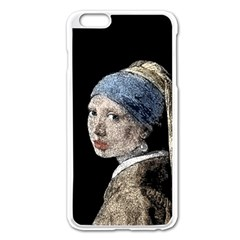 The Girl With The Pearl Earring Apple Iphone 6 Plus/6s Plus Enamel White Case by Valentinaart