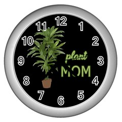 Plant Mom Wall Clocks (silver)  by Valentinaart