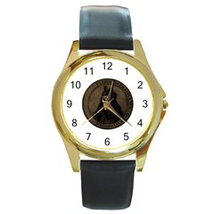 Count Vlad Dracula Round Gold Metal Watch by Valentinaart