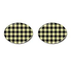 Plaid Pattern Cufflinks (oval) by ValentinaDesign