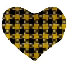 Plaid Pattern Large 19  Premium Heart Shape Cushions by ValentinaDesign