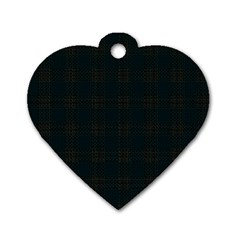Plaid Pattern Dog Tag Heart (two Sides) by ValentinaDesign