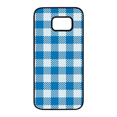 Plaid Pattern Samsung Galaxy S7 Edge Black Seamless Case by ValentinaDesign