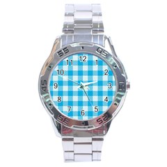 Plaid Pattern Stainless Steel Analogue Watch by ValentinaDesign