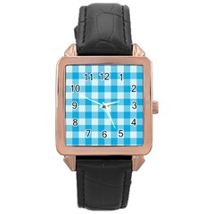 Plaid Pattern Rose Gold Leather Watch  by ValentinaDesign