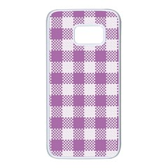 Plaid Pattern Samsung Galaxy S7 White Seamless Case by ValentinaDesign