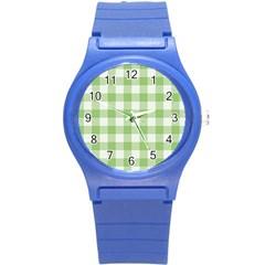 Plaid Pattern Round Plastic Sport Watch (s) by ValentinaDesign
