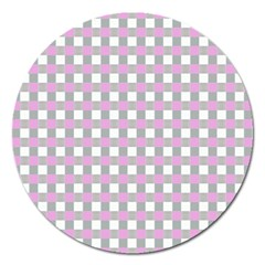 Plaid Pattern Magnet 5  (round) by ValentinaDesign