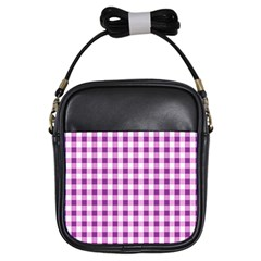 Plaid Pattern Girls Sling Bags by ValentinaDesign