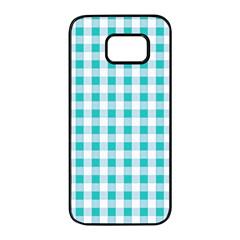 Plaid Pattern Samsung Galaxy S7 Edge Black Seamless Case by ValentinaDesign