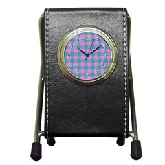 Plaid Pattern Pen Holder Desk Clocks by ValentinaDesign