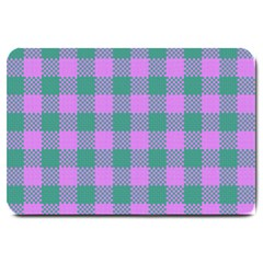 Plaid Pattern Large Doormat  by ValentinaDesign
