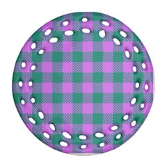 Plaid Pattern Ornament (round Filigree) by ValentinaDesign
