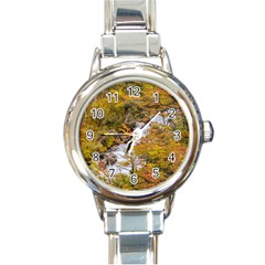 Colored Forest Landscape Scene, Patagonia   Argentina Round Italian Charm Watch by dflcprints