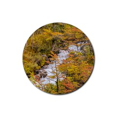 Colored Forest Landscape Scene, Patagonia   Argentina Rubber Round Coaster (4 Pack)  by dflcprints