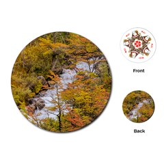 Colored Forest Landscape Scene, Patagonia   Argentina Playing Cards (round)  by dflcprints
