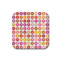 Multicolored Floral Pattern Rubber Coaster (square)  by linceazul