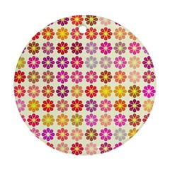 Multicolored Floral Pattern Round Ornament (two Sides) by linceazul