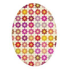 Multicolored Floral Pattern Oval Ornament (two Sides) by linceazul