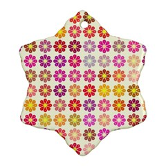 Multicolored Floral Pattern Snowflake Ornament (two Sides) by linceazul