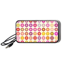 Multicolored Floral Pattern Portable Speaker (black) by linceazul