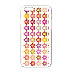 Multicolored Floral Pattern Apple Iphone 6/6s White Enamel Case by linceazul