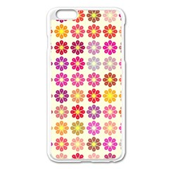 Multicolored Floral Pattern Apple Iphone 6 Plus/6s Plus Enamel White Case by linceazul