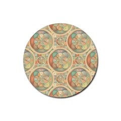 Complex Geometric Pattern Rubber Round Coaster (4 Pack)  by linceazul
