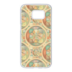 Complex Geometric Pattern Samsung Galaxy S7 Edge White Seamless Case by linceazul