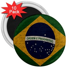 Vintage Flag   Brasil 3  Magnets (10 Pack)  by ValentinaDesign