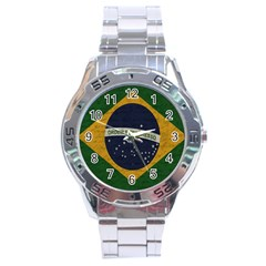 Vintage Flag   Brasil Stainless Steel Analogue Watch by ValentinaDesign