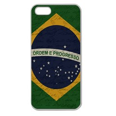 Vintage Flag   Brasil Apple Seamless Iphone 5 Case (clear) by ValentinaDesign