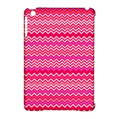 Valentine Pink and Red Wavy Chevron ZigZag Pattern Apple iPad Mini Hardshell Case (Compatible with Smart Cover) by PodArtist